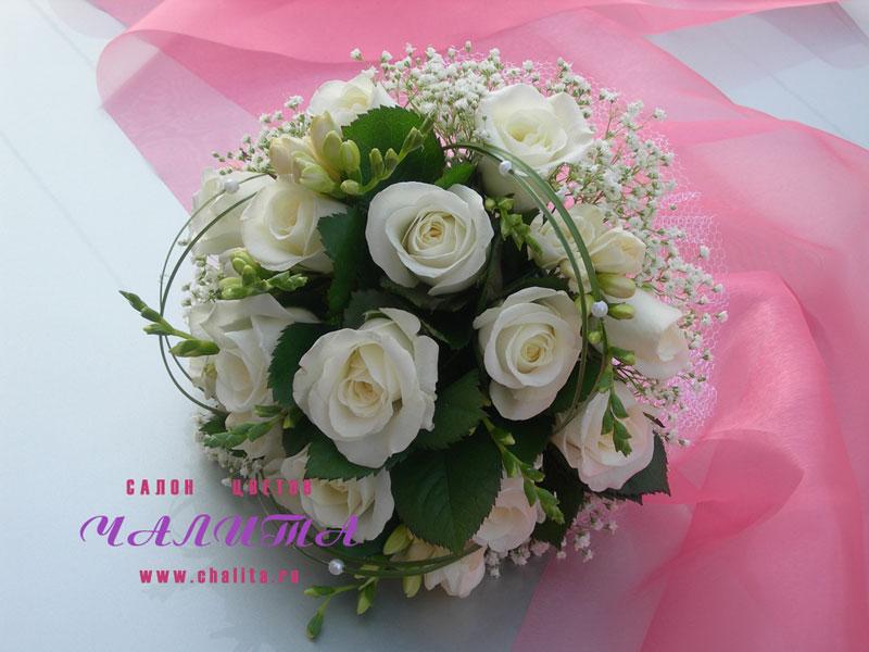 Изобр по > Свадебный Букет из Белых роз и Фрезий