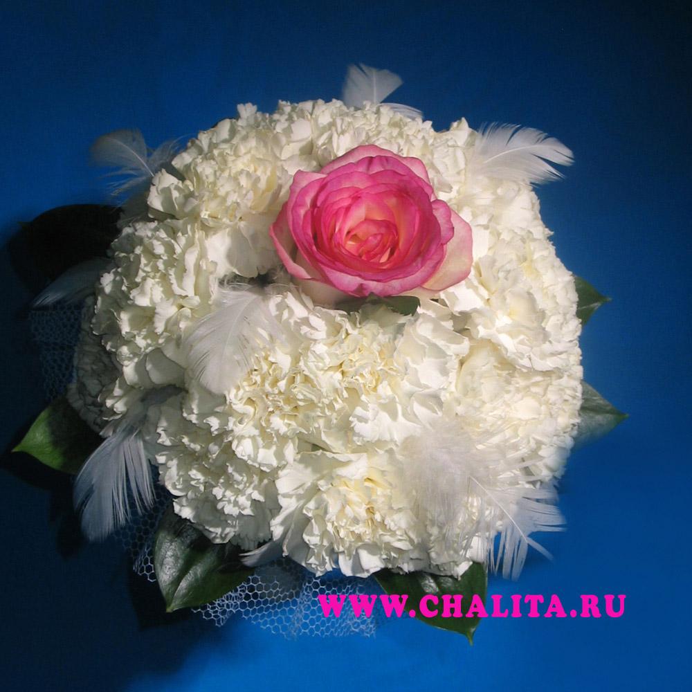 Свадебный букет для невесты из 1 розы и